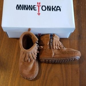 Minnetonka brown double fringe bootie